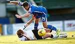 Inverness Caledonian Thistle v St Johnstone...24.10.15  SPFL  Tulloch Stadium, Inverness<br /> Danny Devine fouls Liam Craig for the penalty in injury time<br /> Picture by Graeme Hart.<br /> Copyright Perthshire Picture Agency<br /> Tel: 01738 623350  Mobile: 07990 594431