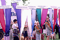 Boy Scouts with Winery Banners at Annual Festival of the Grape, Oliver, BC, South Okanagan Valley, British Columbia, Canada