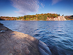 Beautiful fall nature scenery of lake George during sunrise. Killarney Provincial Park, Ontario, Canada