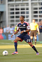 Darrius Barnes (25) defender  New England Revolution in action..Sporting Kansas City and New England Revolution played to a 0-0 tie at LIVESTRONG Sporting Park, Kansas City, KS.