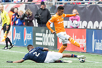 Foxborough, Massachusetts - April 8, 2017:  The New England Revolution (blue/white) beat The Houston Dynamo  (orange/white) 2-0 in a Major League Soccer (MLS) match at Gillette Stadium.