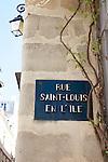 Street signs for Rue Saint-Louis en L'ile, Ile Saint-Louis, Paris, France
