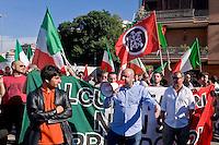 Roma 3 Giugno 2015<br /> Momenti di tensione al presidio anti-rom a Boccea, a Roma, cui hanno partecipato il movimento di estrema destra Casapound e alcuni comitati di quartiere. Una iniziativa contestata da antifascisti, e movimenti per la casa. Boccea &egrave; il quartiere dove mercoled&igrave; 27 maggio un'auto guidata da un 17enne  rom, ha investito nove persone e ucciso la 44enne filippina Corazon Abordo.La manifestazione di Casapound contro i campi rom<br /> Rome June 3, 2015<br /> Moments of tension to the protest anti-Roma Boccea in Rome, attended by the far-right movement Casapound and some neighborhood committees. An initiative opposed by anti-fascists, and movements for the house. Boccea is the neighborhood where Wednesday, May 27 car driven by a 17 year old Roma, has invested nine people and killed the 44 year old Filipino Corazon Abordo. The demostration  Casapound against Roma camps
