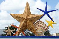 Plaza Caracoles fountain or Ceviche Square, starfish and seashells, corner of Avenida Tulum and Coba, Cancun, Quintana Roo, Mexico.