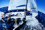 "Beijin 2008 gold medalist Malcolm Page and Mathew Belcher training in Sydney Harbour by a Westerly breeze  on a sunny day for the world championship before heading to Europe...THE 470 DINGHY The 470 is an Olympic class dinghy recognised by ISAF, sailed by both male and female teams. It was designed in 1963 by the frenchman André Cornu, as a modern fiberglass planing dinghy. In 1969 the class was given international status and it has been an olympic class since featuring at the Montreal Olympics in 1976. In 1988 the first olympic womens sailing event was sailed in the 470..the 470 is sailed in more than 61 nations around the world..The boat is equipped with spinnaker and trapeze, which demands real teamwork. To be competitive, everything should be mastered to perfection and the 470 is often quoted as the hardest Olympic design to get to grips with. Tactically the boat is demanding as speed differences between competitors are small and fleets are usually big..To sail the 470, good physical health is enough; strength is not crucial. The competitive crew weight is 110 - 145 kg, making it ideal for both women and men..PARTICULARS.Length: 4.7m, 15'5"".Length of waterline: 4.4m, 14'6"".Mass: 120kg, 264lbs..Mast: 6.76m, 22'3"".Total Sail Area: 12.7m^2, 137ft^2.Jib: 3.58m^2, 39ft^2.Main: 9.12m^2, 98ft^2.Spinnaker: 13m^2, 140ft^2.Crew .Two (single trapeze).Olympic Class..Malcolm Page (born 22 March 1972) is an Australian sailor. He was educated at St. Andrew's Cathedral School in Sydney. He and team mate Nathan Wilmot have won five world titles in the 470 class. They also won the Olympic test event in Qingdao in 2007 and were considered favourites to win the 470 event at the 2008 Summer Olympics, which they did...Mathew Belcher ..25.Nationality/Country.Australian/New Zealand.Being a natural sportsman, it no accident that Queenslander Mat Belcher is where he is today - campaigning for the 2008 Olympic Games. However Mat's first foray into sailing gave no indication of the talent"