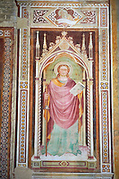 Mredieval Gothic frescoes in San Miniato al Monte (St. Minias on the Mountain) basilica , Florence, Italy.