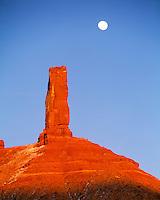 Castle Rock & Moon, Colorado River Canyons, Utah