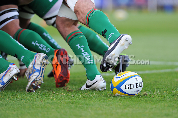 A general view of the ball at the back of a scrum during the pre-match warm-up. Pre-season friendly match, between London Irish and Bristol Rugby on August 22, 2014 at Hazelwood in Middlesex, England. Photo by: Patrick Khachfe / JMP