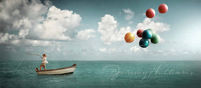 A boy fishing on a boat being pulled by balloons.