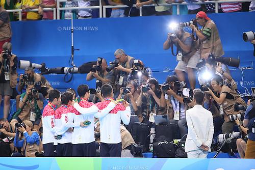 Kosuke Hagino, Takeshi Matsuda, Naito Ehara, Yuki Kobori, (JPN), <br /> AUGUST 9, 2016 - Swimming : <br /> Men's 4x200m Freestyle Relay Medal Ceremony <br /> at Olympic Aquatics Stadium <br /> during the Rio 2016 Olympic Games in Rio de Janeiro, Brazil. <br /> (Photo by Yohei Osada/AFLO SPORT)