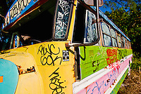 A colorful broken-down school bus at Jimbo's on Miami's Virginia Key.