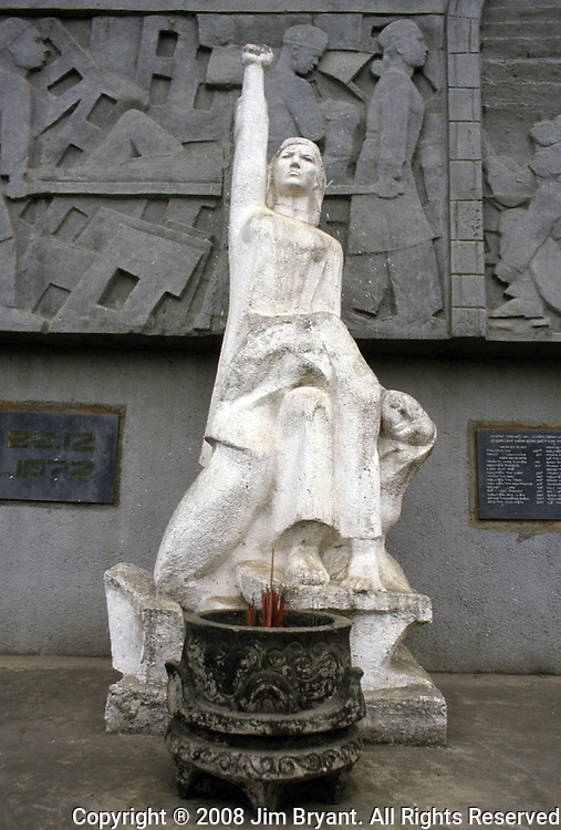 A statue at Bach Mai Hospital where 31 people were killed when bombs were inadvertently dropped during the 1972 Christmas bombing in Hanoi, North Vietnam.  (Jim Bryant Photo).....