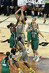 03 APR 2012: Brittney Griner (42) of Baylor University takes a shot against Devereaux Peters (14) of the University of Notre Dame during the Division I Women's Basketball Championship held at the Pepsi Center in Denver, CO. Matt Marriott/NCAA Photos