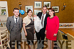 Patrick and Sheila Cahill from Beaufort celebrated christening of their son Padraig Michael surrounded by friends and family in the Kate Kearney Cottage, Gap of Dunloe last Sunday. Pictured with god parents Sean Cahill and Breda O'Gorman.