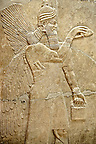 Chaldean Assyrian relief sculpture slab from the northwest palace of King Ashurnasirpal II of a Genie standing. 881-859 B.C form Nimrud or Ni=mrut ( Kalhu or Kalah). Istanbul Archaeological exhibit Inv. No. 5.
