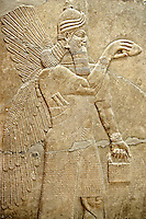 Chaldean Assyrian relief sculpture slab from the northwest palace of King Ashurnasirpal II of a Genie standing. 881-859 B.C from Nimrud or Nimrut ( Kalhu or Kalah). Istanbul Archaeological exhibit Inv. No. 5.