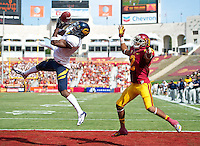 LOS ANGELES, CA - September 22, 2012:  Cal Bears defensive back Steve Williams (1) intercepts a pass during the USC Trojans vs the Cal Bears at the Los Angeles Memorial Coliseum in Los Angeles, CA.