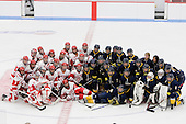 The teams posed together following the game. - The Boston University Terriers defeated the visiting University of Windsor Lancers 4-1 in a Saturday afternoon, September 25, 2010, exhibition game at Walter Brown Arena in Boston, MA.