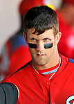 2 March 2011: Washington Nationals outfielder Bryce Harper returns to the dugout after scoring a run during Spring Training action against the Florida Marlins at Space Coast Stadium in Viera, Florida. The Nationals defeated the Marlins 8-4 in Grapefruit League action. Mandatory Credit: Ed Wolfstein Photo