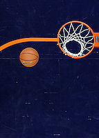 CHARLOTTESVILLE, VA- DECEMBER 6: A basketball at the net during the Virginia Cavaliers vs. George Mason Patriots basketball game on December 6, 2011 at the John Paul Jones Arena in Charlottesville, Virginia. Virginia defeated George Mason 68-48. (Photo by Andrew Shurtleff/Getty Images) *** Local Caption ***