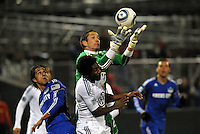 Troy Perkins goes up to catch a cross...Kansas City Wizards defeated DC United 4-0 in their season opener, at Community America Ballpark in Kansas City, Kansas.