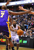 Gilbert Arenas of the Wizards threads the Lakers' defense for an assist. Los Angeles defeated Washington 103-89 at the Verizon Center in Washington, DC on Tuesday, December 14, 2010. Alan P. Santos/DC Sports Box