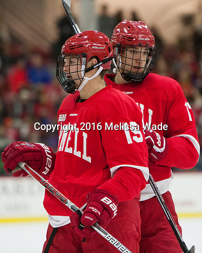 Trevor Yates (Cornell - 15), Anthony Angello (Cornell - 17) - The Harvard University Crimson defeated the visiting Cornell University Big Red on Saturday, November 5, 2016, at the Bright-Landry Hockey Center in Boston, Massachusetts.