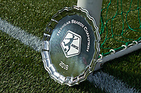 Portland, OR - Saturday April 15, 2017: NWSL Shield during a regular season National Women's Soccer League (NWSL) match between the Portland Thorns FC and the Orlando Pride at Providence Park.