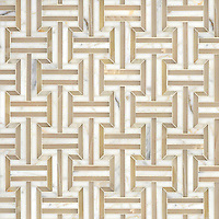 Gaston, a hand cut mosaic, shown in polished Cream Onyx, Calacatta, and Allure.