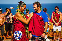 "Pe'ahi, Maui, HAWAII - (December 8, 2012) Nathan Flecther (USA). - Invitees and alternates of the RED BULL JAWS, Paddle at Pe'ahi big wave event gathered high upon the Pe'ahi Overlook in a private blessing that officially opened the three-month holding period for this one-day event. A spiritual ceremony, deeply rooted in Maui's history and Polynesian culture, took place under unusually clear and hot skies, with barely a breath of wind.  . The RED BULL JAWS, Paddle at Pe'ahi presented by Casio G'z One is a one-day big wave paddle-in surfing event that will be held on a single day between December 7, 2012 and March 15, 2013, when wave face heights reach between 30 and 50 feet, and with no assistance from motorized personal watercraft..Led by Kupuna Leslie Kuloloio and Kumu Pulama Collier, surfers listened to the ancestral story of Pe'ahi - known to Hawaiians as Ke Kai 'o Waitakulu, or ""the teary eye place"". Each was presented with a special kihei, or cloak, in recognition of their expertise in big wave riding..  Photo: joliphotos.com"