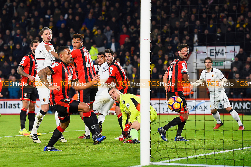 Troy Deeney of Watford (m) scores with a header to make the score 2-1 during AFC Bournemouth vs Watford, Premier League Football at the Vitality Stadium on 21st January 2017