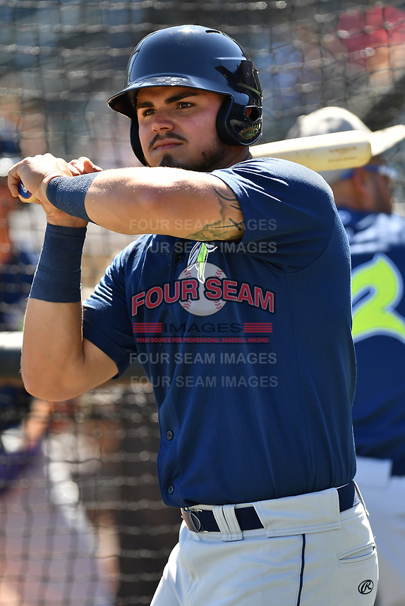 Catcher Brandon Brosher (25) of the Columbia Fireflies during the team's first workout of the season on Sunday, April 2, 2017, at Spirit Communications Park in Columbia, South Carolina. (Tom Priddy/Four Seam Images)