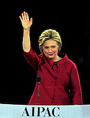 Former United States Secretary of State Hillary Rodham Clinton, a candidate for the Democratic Party nomination for President of the United States, waves to the crowd after speaking at the 2016 AIPAC Policy Conference at the Verizon Center in Washington, DC on Monday March 21, 2016.<br /> Credit: Ron Sachs / CNP