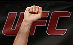 October 23, 2009; Los Angeles, CA; USA;  Challenger Mauricio Rua raises a fist while weighing in for his upcoming light heavyweight championship bout against champion Lyoto Machida.  The two will meet tomorrow night in the headliner of UFC 104 at the Staples Center in Los Angeles, CA.