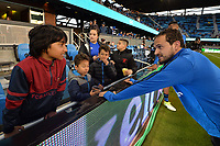 San Jose, CA - Friday April 14, 2017: Marco Ureña, fans  prior to a Major League Soccer (MLS) match between the San Jose Earthquakes and FC Dallas at Avaya Stadium.