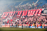 New York Red Bulls fans unfurl a banner prior to playing D. C. United during a Major League Soccer (MLS) match at Red Bull Arena in Harrison, NJ, on March 16, 2013.