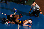 12 MAR 2011:  Mario Morgan of Nebraska-Omaha wrestles Dalton Jensen of Nebraska-Kearney during the Division II Men's Wrestling Championship held at the UNK Health and Sports Center on the University of Nebraska - Kearney campus in Kearney, NE.  Morgan defeated Jensen 12-5 to win the 141-lb national title. Corbey R. Dorsey/ NCAA Photos