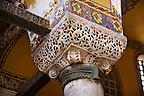 Ornate Byzantine column capital in the Hagia Sophia ( Ayasofya ) , Istanbul, Turkey