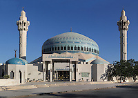 King Abdullah I Mosque, 1982-1989, Amman, Jordan. Memorial by the late King Hussein to his grandfather, it is a major landmark in Amman with its blue mosaic dome beneath which 3,000 Muslims may offer prayer. Picture by Manuel Cohen