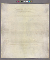 The New York Public Library's copy of the Bill of Rights. The NYPL announces an agreement to display their copy of the original Bill of Rights at an unveiling of the document at the main branch of the library in New York on Wednesday, May 22, 2013. The over 200 year old document is one of 14 copies made and distributed to the 13 former colonies and the federal government. This copy has not been displayed for decades and a state of the art box containing protective glass and argon gas to prevent deterioration is being constructed for it. The copy will be displayed by the National Constitution Center in Philadelphia from 2014 to 2017 and then traveling back to the NYPL where the library will continue to display it 60 percent of the time. (© Richard B. levine)