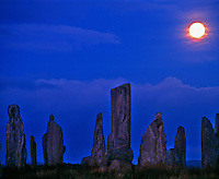 The Callinish Stones  Isle of Lewis, Scotland, United Kingdom Outer Hebrides Islands, North Atlantic Five thouseand year old standing stones  Moonset  Lewisian Gneiss  September