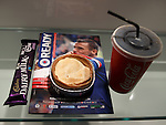 Match cuisine Rangers style.  Steak Pie, Coke, Choccy Bar and Programme. Pie is a 4/10. Don't take the first coke from the dispenser either.