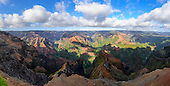 A panoramic view of Waimea Canyon in the afternoon light, Kaua'i.