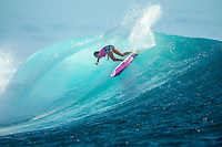 Namotu Island Resort, Nadi, Fiji (Monday, May 30 2016): Stephanie Gilmore (AUS)  - The  2016 Fiji Women's Pro commenced at 9 am this morning in clean 3'-4' building swell at Cloudbreak. Rounds 2,3and 4  was completed as the swell built through the afternoon. There were strong Trade winds in the afternoon as well making the waves a bit choppy. Photo: joliphotos.com