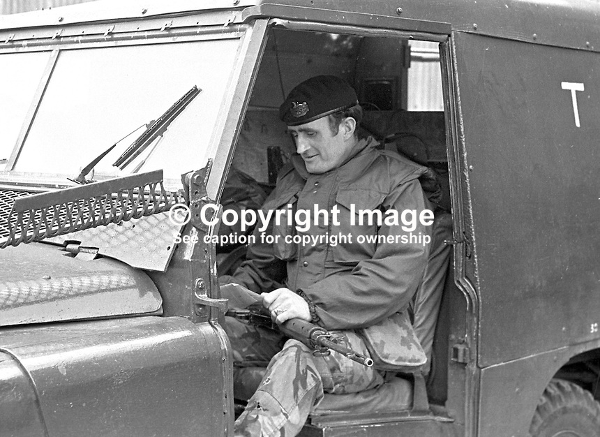 Corporal Norman Chambers, 1st Glosters. who kicked a bomb out of range of two children during his patrol at Divis Flats, Lower Falls Road, Belfast, N Ireland. 197304130195NC..Copyright Image from Victor Patterson, 54 Dorchester Park, Belfast, UK, BT9 6RJ..Tel: +44 28 9066 1296.Mob: +44 7802 353836.Voicemail +44 20 8816 7153.Skype: victorpattersonbelfast.Email: victorpatterson@me.com.Email: victorpatterson@ireland.com (back-up)..IMPORTANT: If you wish to use this image or any other of my images please go to www.victorpatterson.com and click on the Terms & Conditions. Then contact me by email or phone with the reference number(s) of the image(s) concerned.
