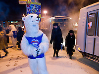 Students dressed as a polar bears for Vladimir Putin's party United Russia trying to convince people on the street to vote for them a few days before the Duma elections.