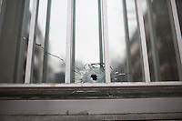 Supposed bullet hole near the site of the massacre at Charlie Hebdo in Paris where masked gunmen killed 12 people. Paris, France, (Jan. 7, 2015).
