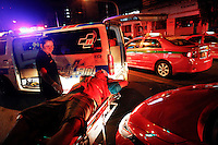"""An injured motorcycle taxi driver is wheeled into and ambulance vehicle at the site of another road accident during Songkran festival in Bangkok late April 13, 2013. Songkran or Thai New Year is known as a raucous party and touted as a popular tourist event. But officials also know it as """"the seven dangerous days"""", when already high number of traffic related deaths and injuries surge. Thailand has the greatest number of road deaths in Southeast Asia per population, due to a combination of lax road laws and careless driving habits, experts say. REUTERS/Damir Sagolj (THAILAND)"""