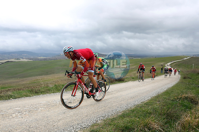 Riders on the white gravel raods of Tuscany during the 2017 Strade Bianche running 175km from Siena to Siena, Tuscany, Italy 4th March 2017.<br /> Picture: Heinz &amp; Sabine Zwicky/Radsport.ch | Newsfile<br /> <br /> <br /> All photos usage must carry mandatory copyright credit (&copy; Newsfile | Heinz &amp; Sabine Zwicky/Radsport.ch)