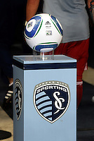 MLS ball on Sporting KC plynth...Sporting KC were held to a scoreless tie with Chicago Fire in the inauguarl game at LIVESTRONG Sporting Park, Kansas City, Kansas.
